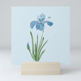 Blue Iris and Bee Mini Art Print