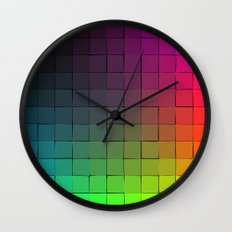 Rainbow squares Wall Clock