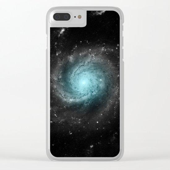 Aqua Blue Gray Pinwheel Galaxy Clear iPhone Case