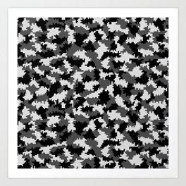 Camouflage Digital Black and White Art Print