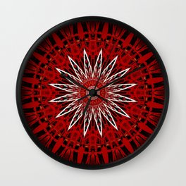 Bright White Red Mandala Design Wall Clock