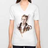 james franco V-neck T-shirts featuring James by Myrtle Quillamor