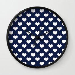 Indigo Navy Blue Hearts Wall Clock
