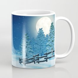 Snowman family in a moonlit winter landscape at night Coffee Mug