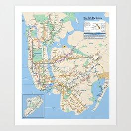 New York City Metro Subway Map Art Print