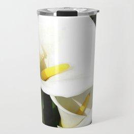 Beautiful White Calla Flowers In Bright Sunlight Travel Mug