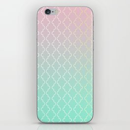 Moroccan pattern with mint, pink and gold iPhone Skin