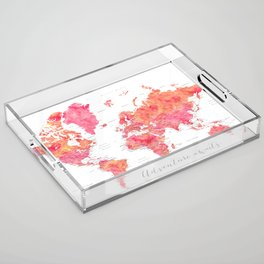 "Adventure Awaits watercolor world map in hot pink and orange, ""Tatiana"" Acrylic Tray"
