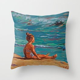 Front of the sea Throw Pillow