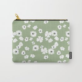Modern floral on dusty green ground Carry-All Pouch