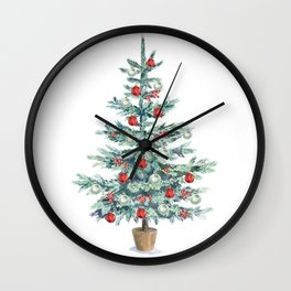Christmas tree with red balls Wall Clock