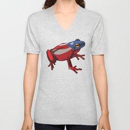Puerto Rico Frog Coqui | Proud Boricua Flag Unisex V-Neck