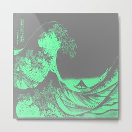 The Great Wave Green & Gray Metal Print
