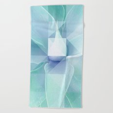 Soft Geo Agave - Aqua and blue Beach Towel