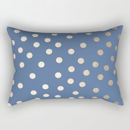 Simply Dots White Gold Sands on Aegean Blue Rectangular Pillow