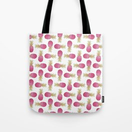 Ombre Pink Illustrated Pineapple Tote Bag