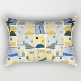 Morning Middle Eastern Town Watercolor Rectangular Pillow