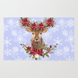 Believe Typography Christmas Deer Head Poinsettia Rug