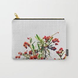 Minimal Red & Green Floral (Color) Carry-All Pouch