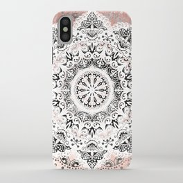 Dreamer Mandala White On Rose Gold iPhone Case