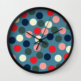 Pastel blue & red dots  Wall Clock