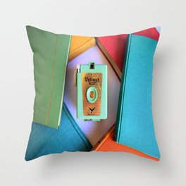 vintage Camera and books Throw Pillow