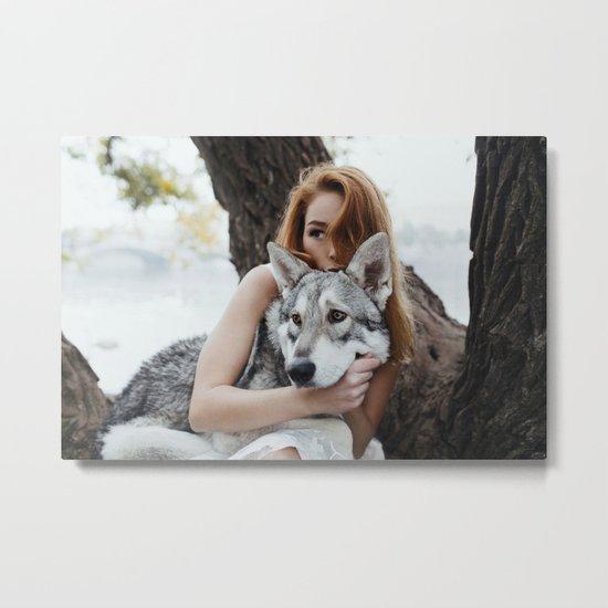 Girl wolf Metal Print