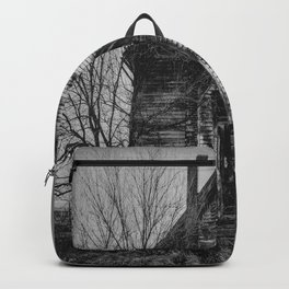 School's Out - Abandoned Schoolhouse in Iowa in Black and White Backpack
