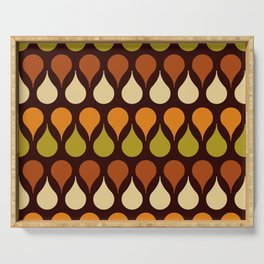 60s, retro pattern, Brown drops, yellow drops, geometric, vintage, drop pattern Serving Tray