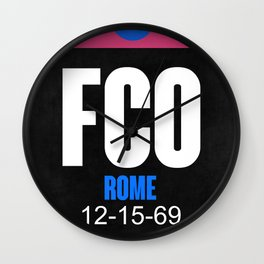 FCO Rome Luggage Tag 2 Wall Clock