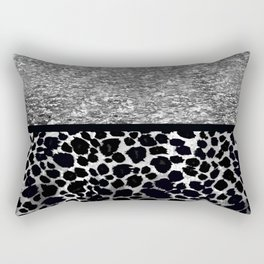 Animal Print Leopard Silver and Black Rectangular Pillow