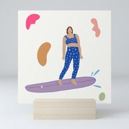 Surf girl wave riding Mini Art Print