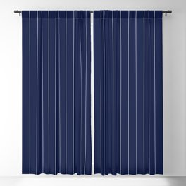 Navy Blue Pinstripes Line Blackout Curtain