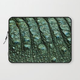 Green Alligator Leather Print Laptop Sleeve
