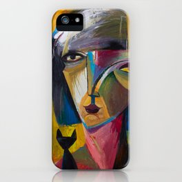 Woman with Black Cat iPhone Case