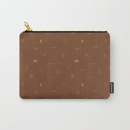 Southwestern Symbolic Pattern in Rust & Tan Carry-All Pouch