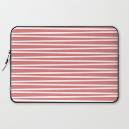 Coral and white thin horizontal stripes Laptop Sleeve