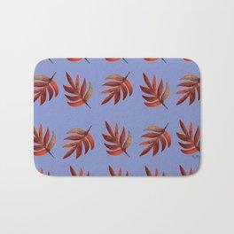 Leaf pattern blue Bath Mat