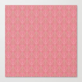 Pink & Green Matryoshka Doll Pattern Canvas Print