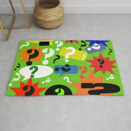 Question mark graphic collage Rug