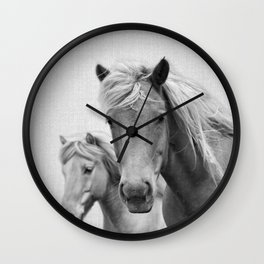 Horses - Black & White Wall Clock
