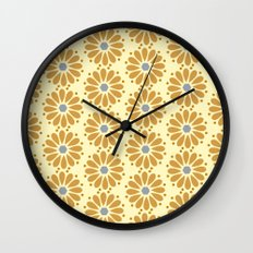 Golden floral on beige Wall Clock