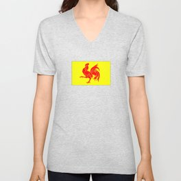 Flag of wallonia - Drapeau wallon,wallonie,Belgique,Belge,Bruxelles,France,Mons,Charleroi,coq,jaune Unisex V-Neck