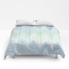 Modern geometrical pastel blue mint green watercolor ikat Comforters