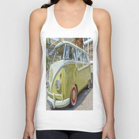 lime green Tank Tops featuring Lime Green Camper Van by Cornish Creations
