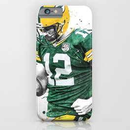 Aaron Rodgers poster, Football print, Sports wall art, Kids room decor, Man Cave, Gift iPhone Case