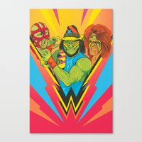 wrestling Canvas Prints featuring Classic Wrestling by RJ Artworks