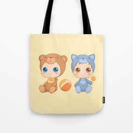 Babies in Cat and Bear Jumpsuits Tote Bag