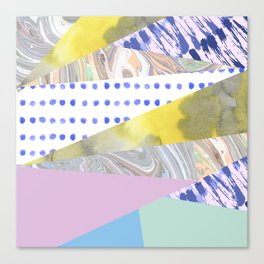 Modern geometrical pink navy blue yellow watercolor marble Canvas Print