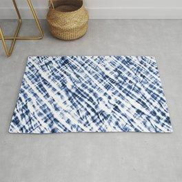 Tie Dye Criss-Cross Design in Indigo Blue and White Rug